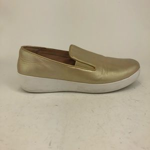 FitFlop Metallic Leather Slip On Loafers
